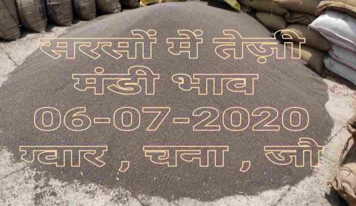 Mandi Bhav 06-07-2020 , Sarso Gwar Jo Gehun Rates